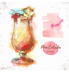 Watercolor cocktail pina colada sketch vector image