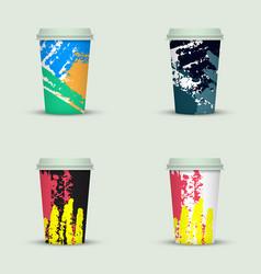 Watercolor take away coffee cup creative design vector