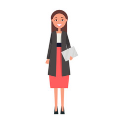 well-dressed brunette woman in red skirt vector image