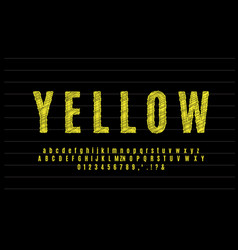 Yellow sketch text effect or font effect style vector