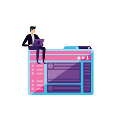Young man using laptop in webpage template vector