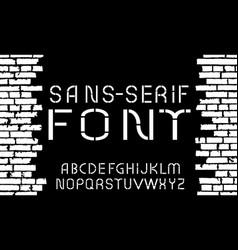 Black and white sans-serif modern font on old vector