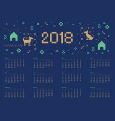 calendar 2018 with cross stitch dog pixel art vector image