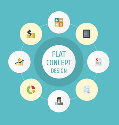 flat icons algebra paper net income and other vector image