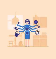 Housewife in the kitchen - modern flat design vector