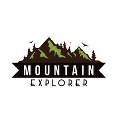 mountain explorer adventure badge template vector image vector image