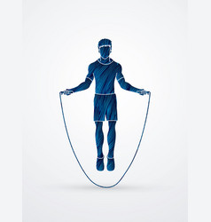 Sport man jumping rope graphic vector