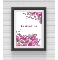 square black frame on the brick wall background vector image vector image