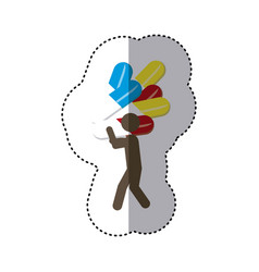 sticker colorful worker holding up capsule drugs vector image