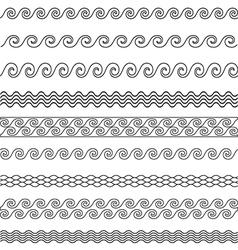 wave line pattern borders set vector image