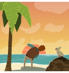 Cartoon Photographer Character On Beach vector image