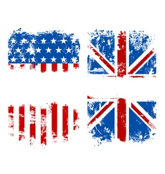Grunge banners USA and UK national flags vector image vector image