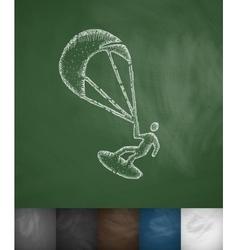 kitesurfing icon vector image