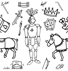 Knight icons pattern vector