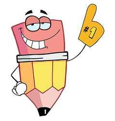 Pencil Cartoon Character Is Number One vector image vector image