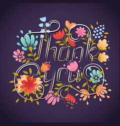 thank you lettering greeting card lettering vector image