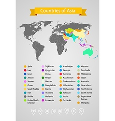 World map infographic template Countries of Asia vector image