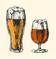 Craft beer and pub sketch vector
