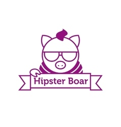 hipster boar in sunglasses outline logotype vector image