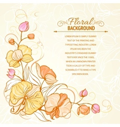 Sepia grunge background with orchid imprint vector image vector image