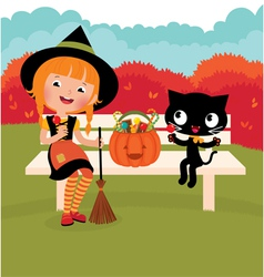 Witch of and her cat vector image vector image