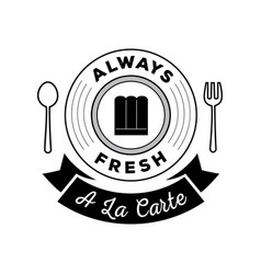 alway fresh food logo with a la cate ribbon vector image vector image