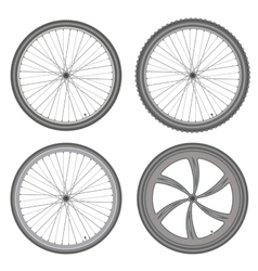 bicycle wheels different set on white background vector image vector image