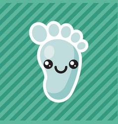 cute kawaii smiling baby foot cartoon icon vector image vector image