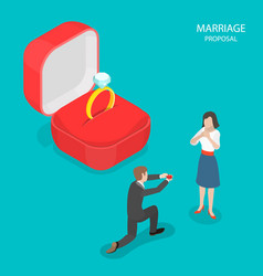 marriage proposal flat isometric vector image