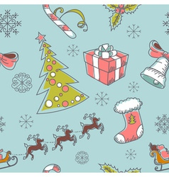 Seamless Christmas hand drawn pattern vector image vector image