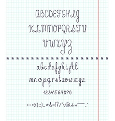 Set capital English handwriting font on paper Font vector image vector image