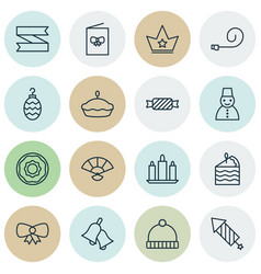 set of 16 celebration icons includes ringer flan vector image vector image