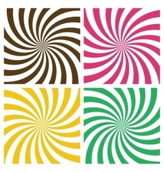 Set of swirling radial backgrounds vector