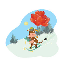 2021 new year greeting card with a bull skiing vector image