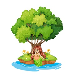 A mermaid resting in the island vector image