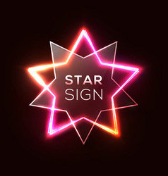 abstract neon star shiny plastic star shape plate vector image