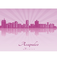 Acapulco skyline in purple radiant orchid vector image