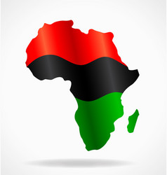 Africa continent shape with pan african flag vector