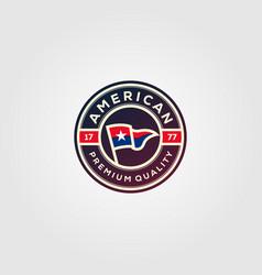american flag premium badges logo design vector image