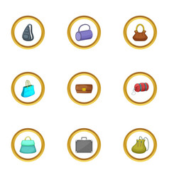 bag type icons set cartoon style vector image