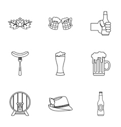 Beer fest icons set outline style vector