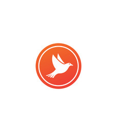 bird or dove open wings and fly inside a circle vector image