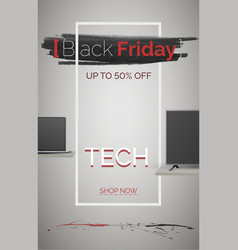 Black friday tech sale banner template vector