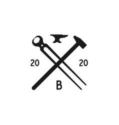 blacksmith forge foundry with crossed hammer vector image