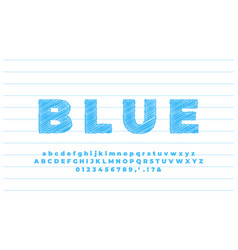 Bold blue sketch text effect or font effect style vector