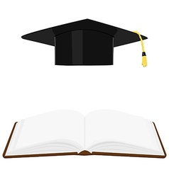 Book and graduation hat vector