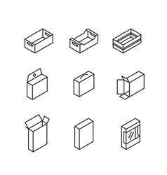 box signs line icon set vector image