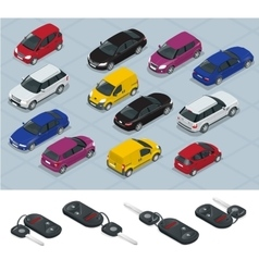 Car and Car keys icons Car keys Flat 3d vector image