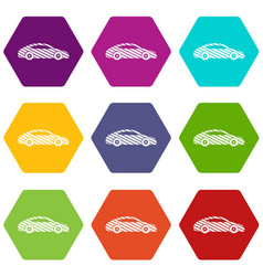 car icons set 9 vector image