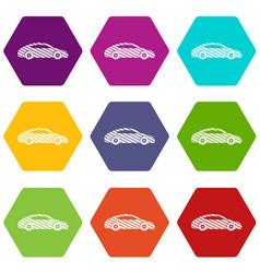 car icons set 9 vector image
